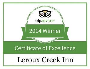 Leroux Creek Inn Tripadvisor Award, CO